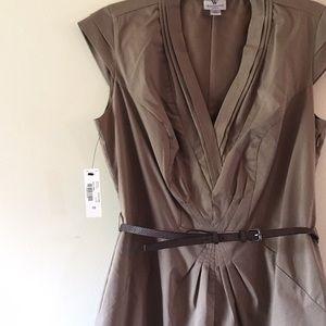 Taupe pleated dress